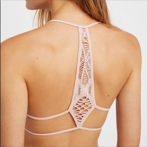 NWT Free People light pink macrame bra